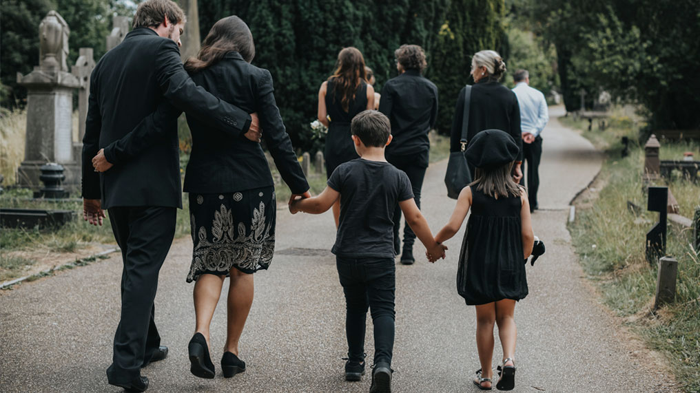 a family at a funeral