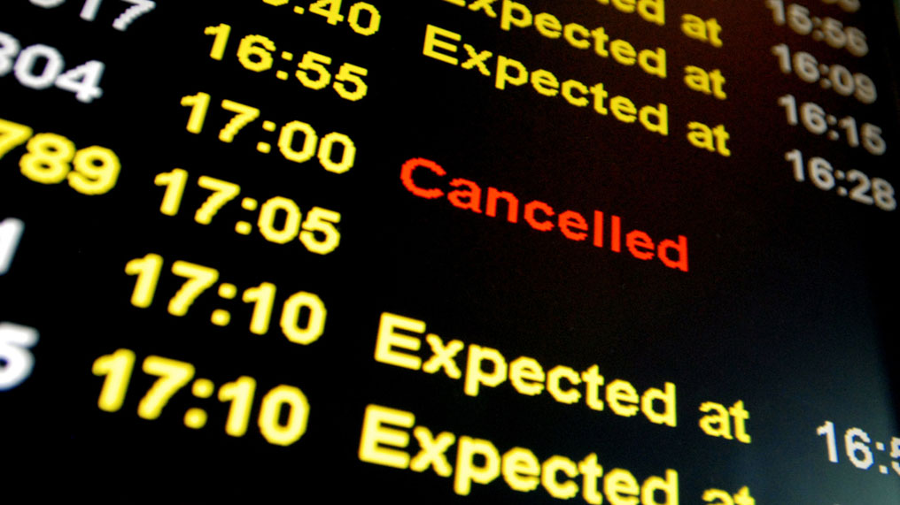 A departure board full of cancellations.