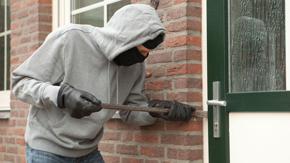 A thief attempts to break into a home.