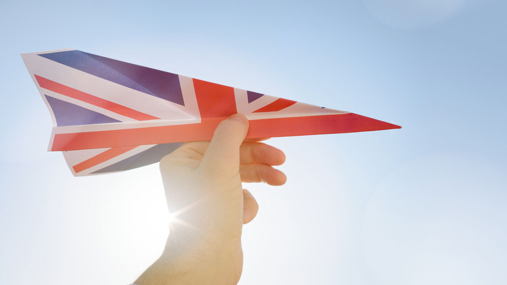 A paper plane covered in a Union Jack.
