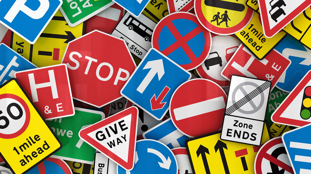 A collage of road signs