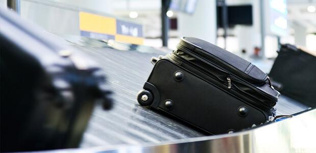 suitcase on conveyor belt