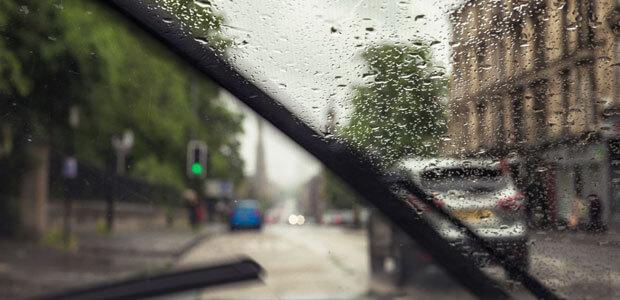 Windscreen wipers working in the rain