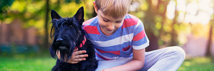 Young boy cuddling his dog in the park